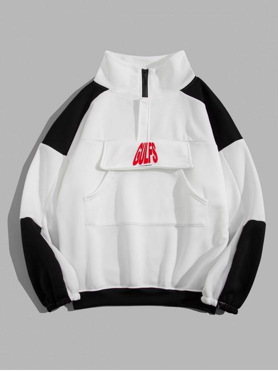 outfits Letter Print Colorblock Drop Shoulder Sweatshirt - WHITE M