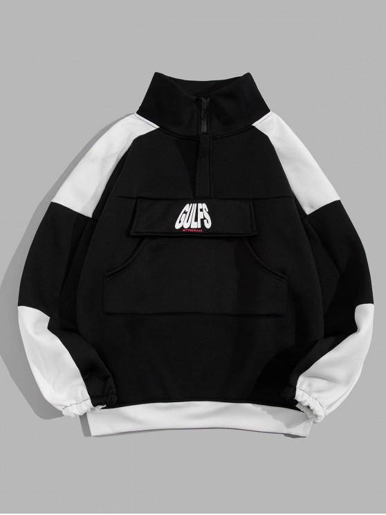 outfit Letter Print Colorblock Drop Shoulder Sweatshirt - BLACK L