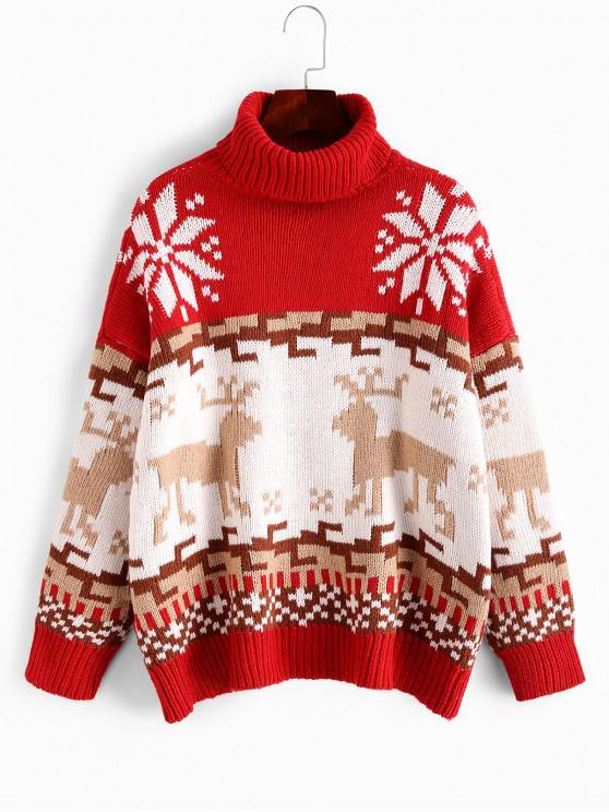 Weihnachtselch Schneeflocke Grafik Rollkragen Pullover - Multi-B Eine Größe