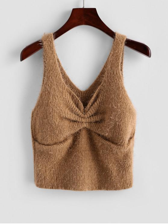 best Gathered Fuzzy Crop Sweater Vest - CAMEL BROWN M