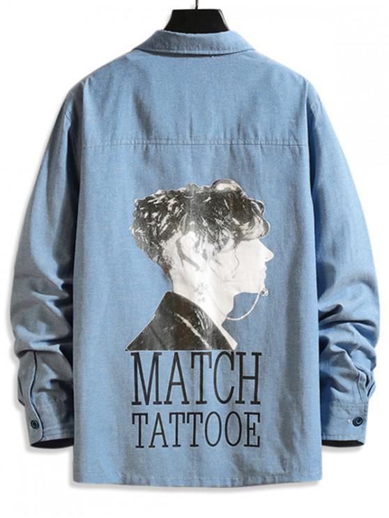 outfits Letter Men Character Print Long Sleeve Button Shirt - DENIM BLUE L