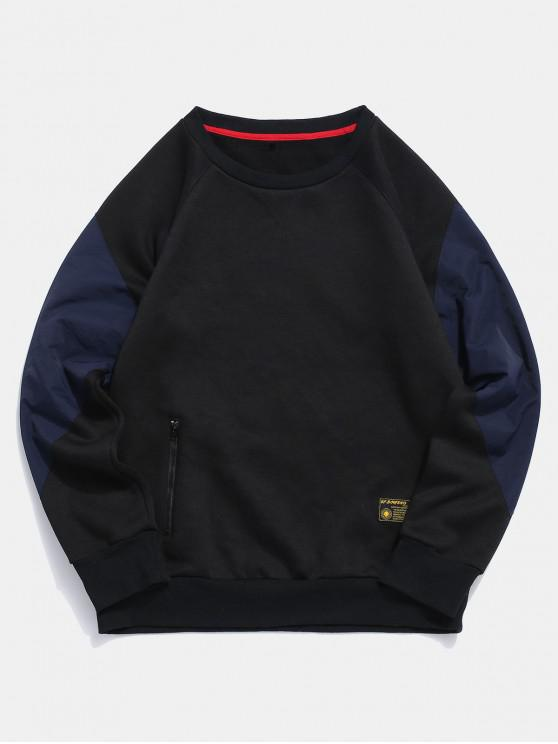 unique ZAFUL Color Blocking Casual Sweatshirt - BLACK M