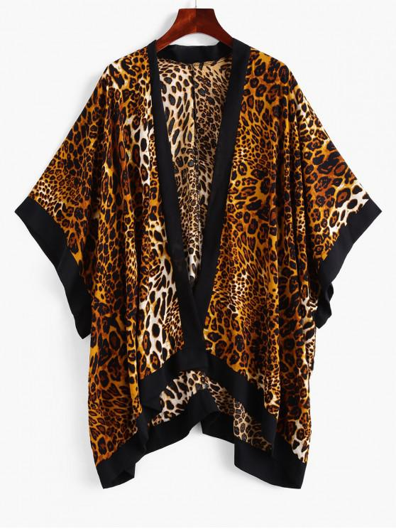 ZAFUL Leopard Batwing Sleeve Contrast Trim Cover Up - Leopard O marime