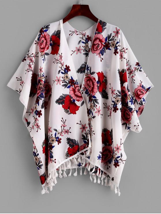 shops ZAFUL Tassel Flower Print Open Batwing Cover Up - MULTI-A S