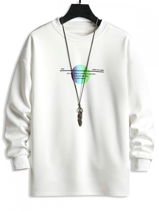 affordable Round Geometric Letter Print Sweatshirt - WHITE L