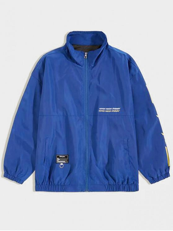 不尋常的圖形跌落肩休閒夾克 - 藍色 L
