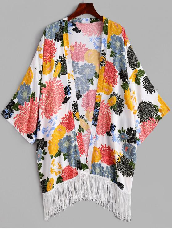 fancy ZAFUL Flower Fringed Drop Shoulder Collarless Cover Up - MULTI-A ONE SIZE