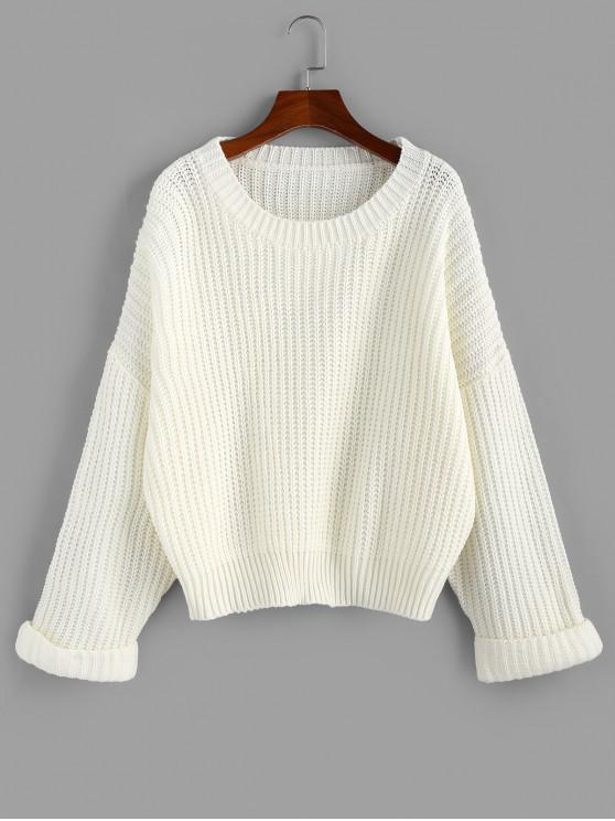 chic ZAFUL Cuffed Sleeve Drop Shoulder Textured Sweater - WHITE M