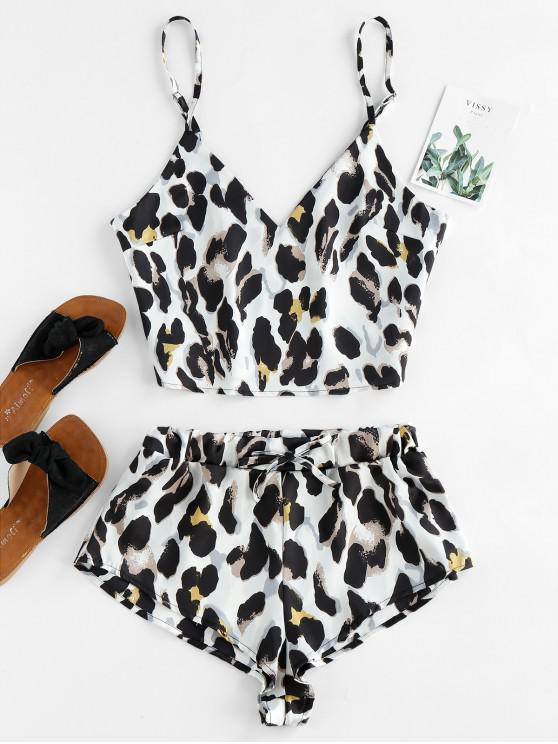 outfits Leopard Print Satin Cami Top Shorts Pajama Set - BEIGE M