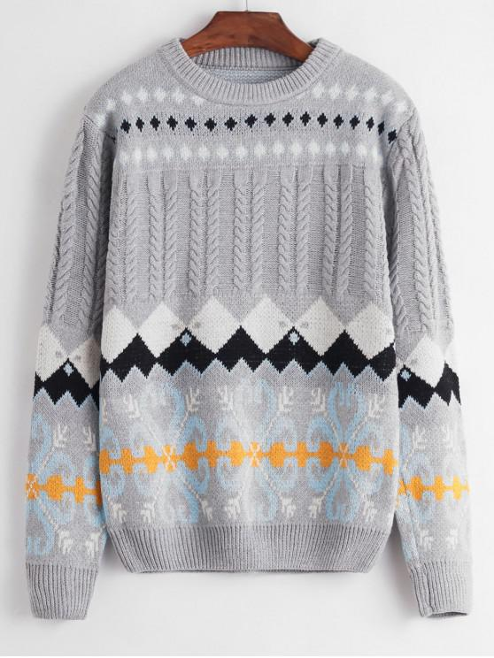 hot Crew Neck Intarsia Knit Graphic Cable Knit Sweater - GRAY ONE SIZE