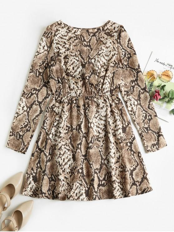 sale ZAFUL Snake Print Surplice Overlap Long Sleeve Dress - LIGHT BROWN S