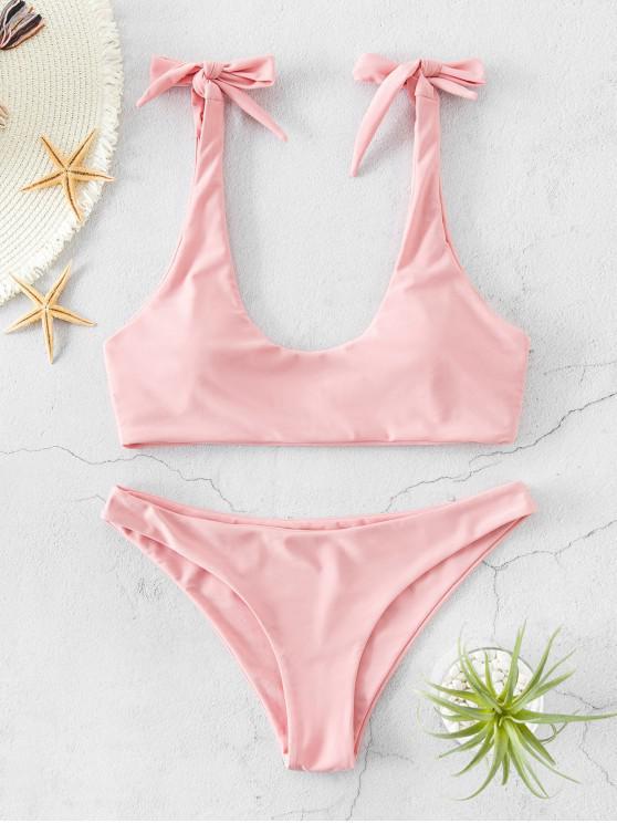 shop ZAFUL Shoulder Knot Bikini Swimsuit - LIGHT PINK L