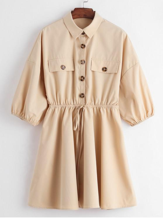 shop ZAFUL Half Button Drop Shoulder Bowknot Dress - LIGHT KHAKI M