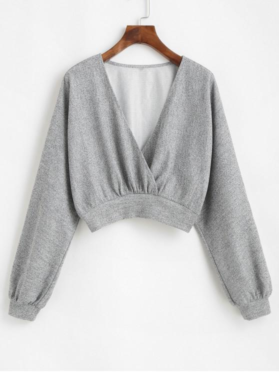 affordable ZAFUL Heathered Knit Dolman Crop Top - LIGHT GRAY S