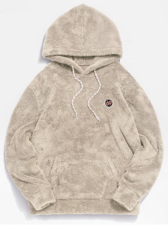 womens ZAFUL Figure Pattern Solid Fluffy Hoodie - BEIGE S
