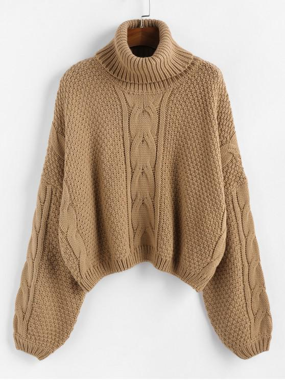 womens ZAFUL X Luna Montana Drop Shoulder Cable Knit Turtleneck Sweater - CAMEL BROWN M