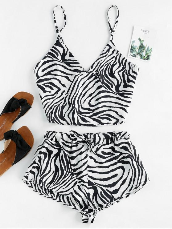 sale Zebra Print Satin Cami Top Shorts Pajama Set - WHITE S