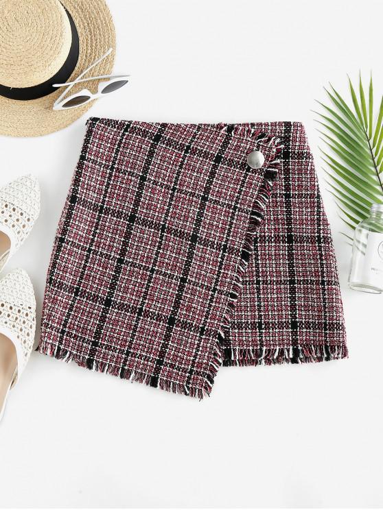 hot ZAFUL Tweed Faux Wrap Skirt - MULTI-H S