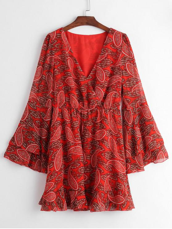 women's ZAFUL Paisley Print Bell Sleeve Flounce Hem Surplice Dress - RED M