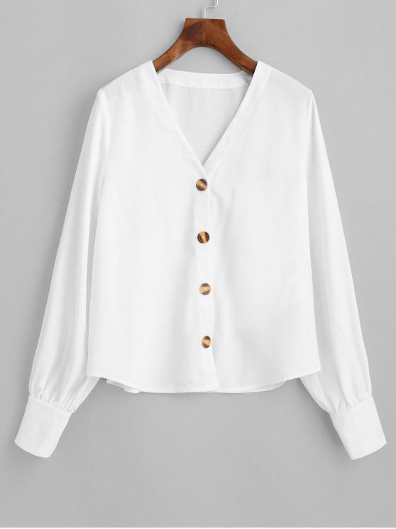 shops ZAFUL Button Up V Neck Wide Cuffs Blouse - WHITE XL