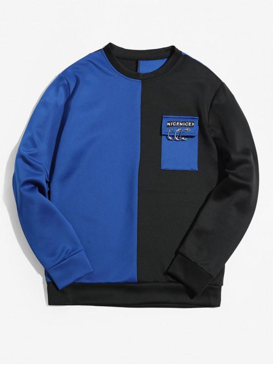buy Two Tone Letter Flap Pocket Spliced Sweatshirt - BLUE XS