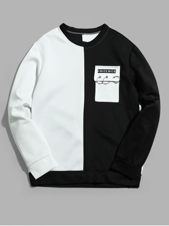 women Two Tone Letter Flap Pocket Spliced Sweatshirt - WHITE S