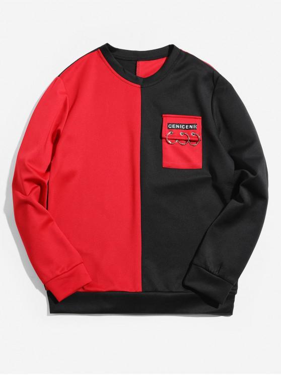 lady Two Tone Letter Flap Pocket Spliced Sweatshirt - RED S