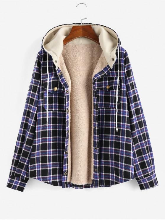 unique ZAFUL Plaid Hooded Fluffy Lined Snap Button Jacket - MULTI-B XL