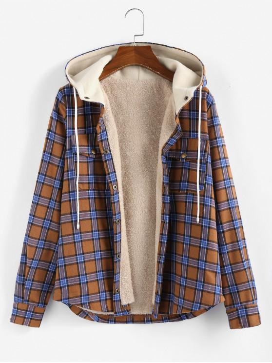 sale ZAFUL Plaid Hooded Fluffy Lined Snap Button Jacket - MULTI-A L