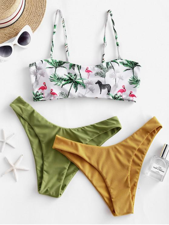 chic ZAFUL Animal Plant Print Bandeau Three Piece Swimsuit - GOLDEN BROWN M