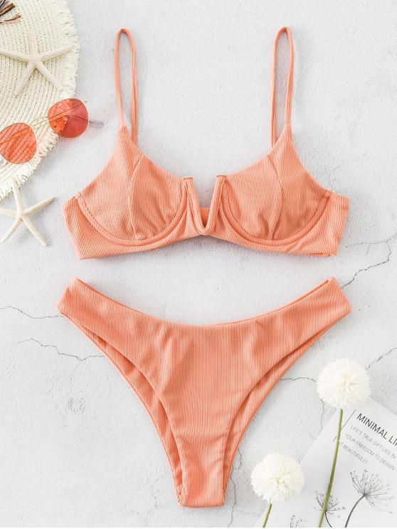 ladies ZAFUL Ribbed V Wired High Leg Bikini Swimsuit - LIGHT SALMON S