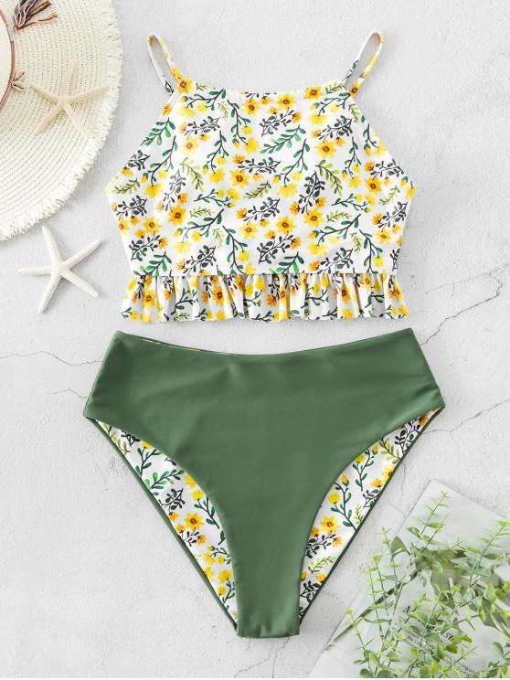 outfits ZAFUL Reversible Ditsy Ruffle Lace Up Tankini Swimsuit - MULTI-A 2XL