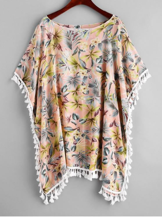 new Floral Tassel Poncho Kimono Cover Up - PINK L