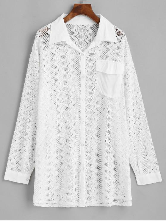 fashion Button Down Crochet Flap Pocket Beach Shirt - WHITE ONE SIZE