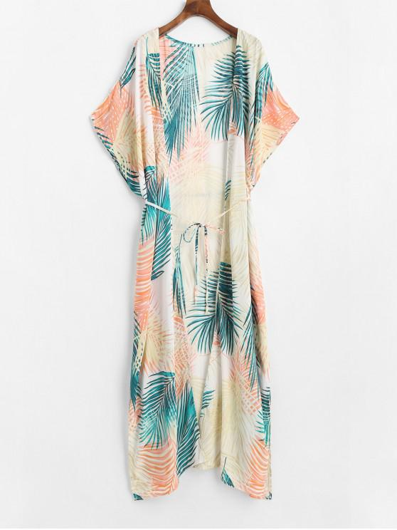 ladies Longline Open Front Leaves Print Cover Up Top - MULTI-A ONE SIZE