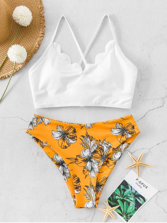 outfits ZAFUL Flower Lace Up Scalloped Bikini Swimsuit - MULTI-A L