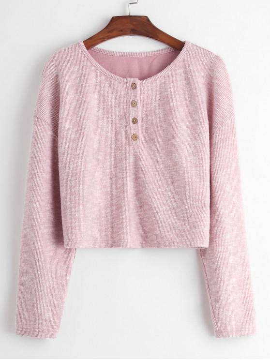 women ZAFUL Button Placket Drop Shoulder Crop Sweater - SAKURA PINK S