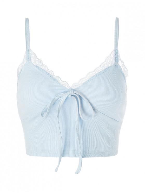 trendy ZAFUL Lace Insert Bowknot Crop Camisole - LIGHT BLUE S