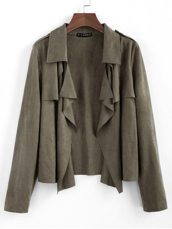 women ZAFUL Draped Front Epaulet Suede Jacket - CAMOUFLAGE GREEN XL