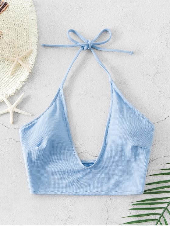 chic ZAFUL Textured Halter Bikini Top - DAY SKY BLUE L