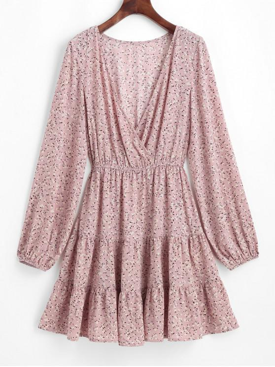 outfits ZAFUL Ditsy Print Flounce Surplice Dress - LIGHT PINK XL