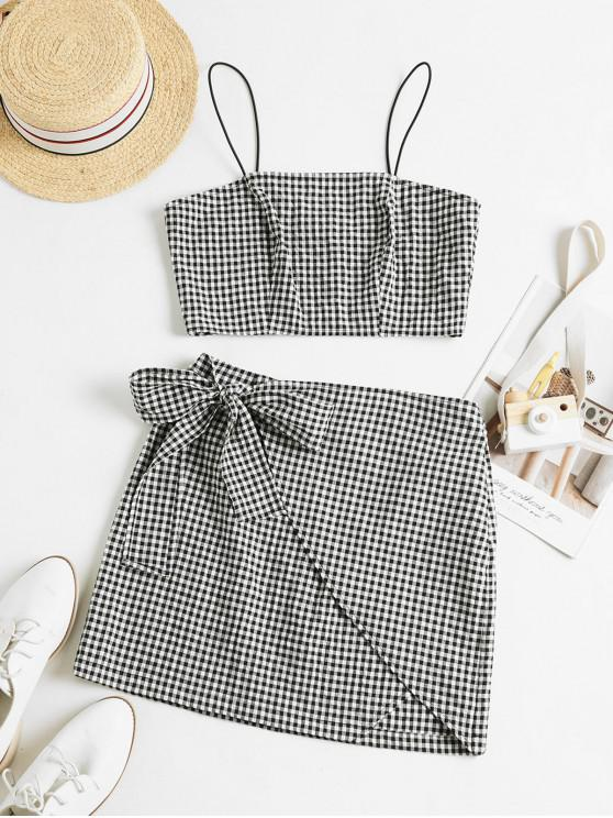 affordable ZAFUL Gingham Overlap Knotted Cami Two Piece Set - MULTI L