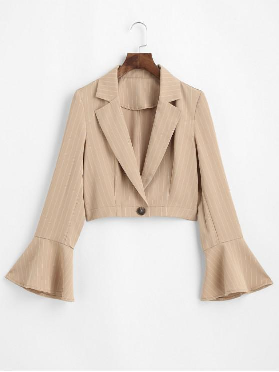 shop ZAFUL Pinstriped Trumpet Sleeve Cropped Blazer - TAN XL