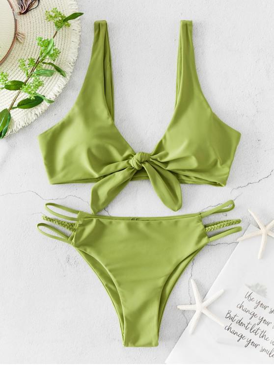 unique ZAFUL Braided Strap Ladder Cut Tied Plunging Bikini Swimsuit - PISTACHIO GREEN S