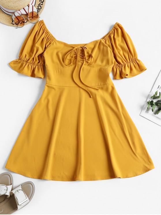 online ZAFUL Puff Sleeve Cinched Mini Milkmaid Dress - BEE YELLOW S