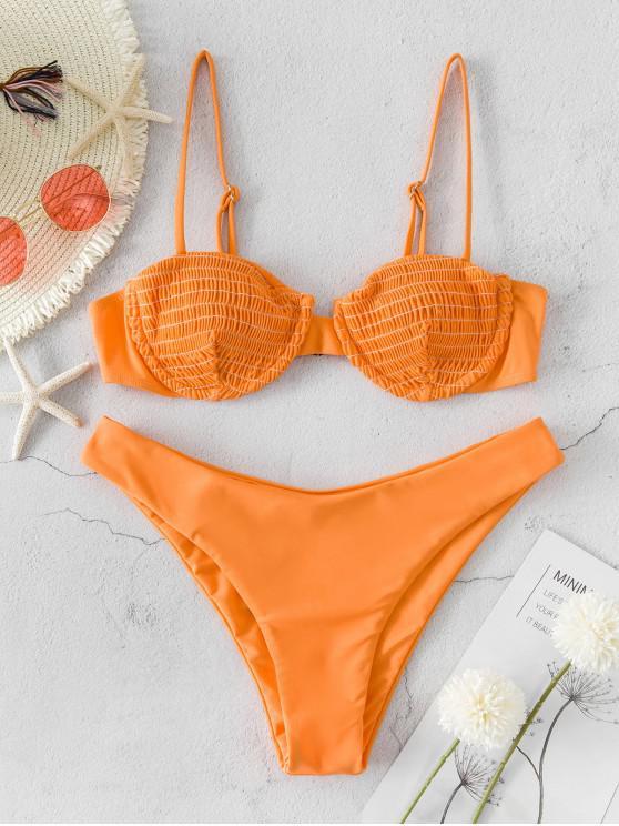 ZAFUL Smocked Ferretto Cami Alta Leg Bikini Swimsuit - Salmone Leggero L