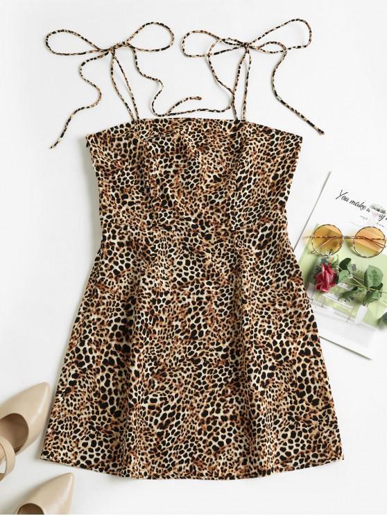 chic ZAFUL Leopard Tie Shoulder Mini Cami Dress - MULTI-A S