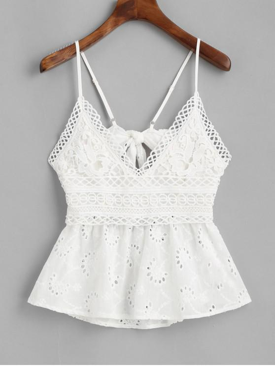 lady ZAFUL Broderie Anglaise Knot Cami Top - WHITE XL