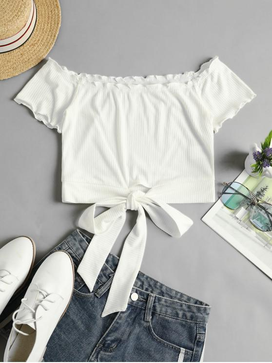 outfits ZAFUL Off Shoulder Ribbed Knotted Frilled Crop Tee - MILK WHITE M