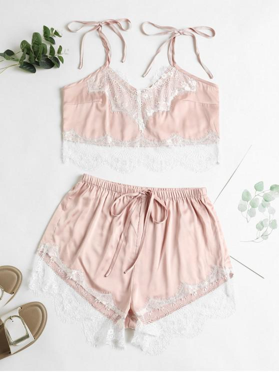 trendy ZAFUL Lace Eyelash Satin Tie Shoulder Two Piece Set - LIGHT PINK S